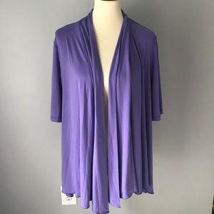 Susan Graver purple open front top